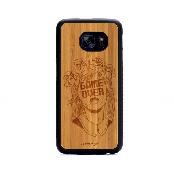 Game Over Desenli Samsung Ahşap Telefon Kılıfı