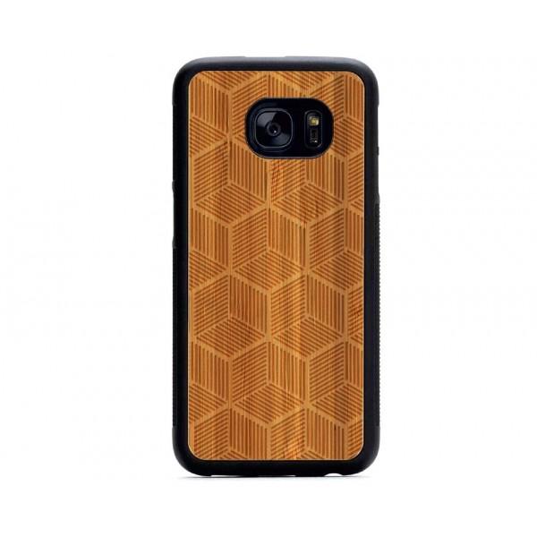 Geometrik Küp Desenli Samsung için Ahşap Telefon Kılıfı