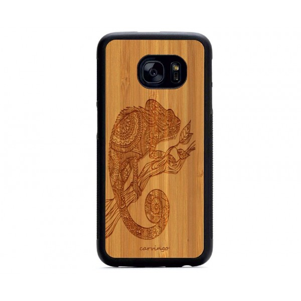 Bukalemun Figürlü Samsung Ahşap Telefon Kılıfı