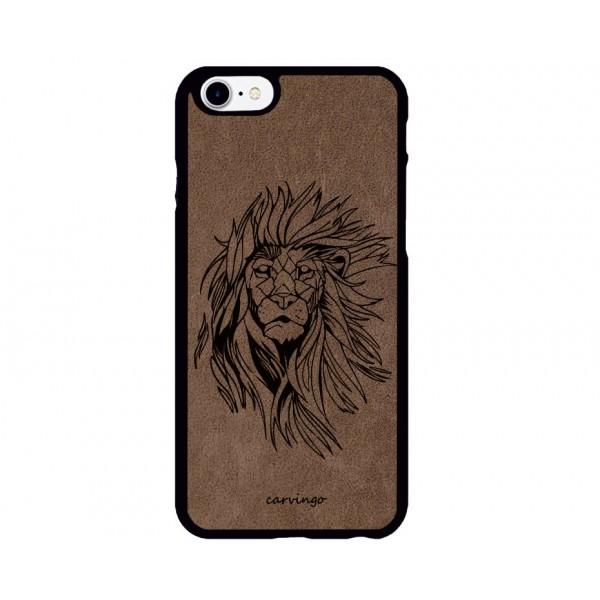 Aslan Figürlü iPhone Süet Telefon Kılıfı