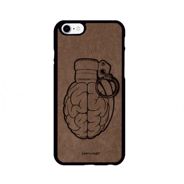 Bomba Beyin Figürlü iPhone Süet Telefon Kılıfı