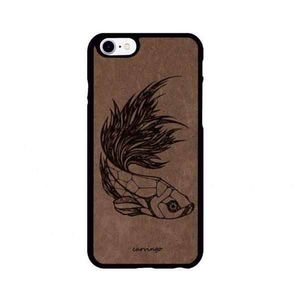 Geometrik Balık Figürlü iPhone Süet Telefon Kılıfı