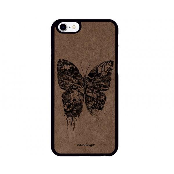 Kelebek Figürlü iPhone için Süet Telefon Kılıfı