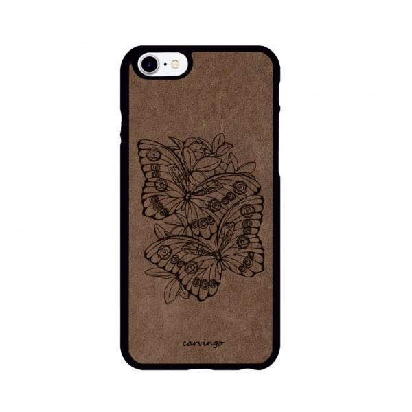 Kelebek Bahçesi Desenli iPhone Süet Telefon Kılıfı