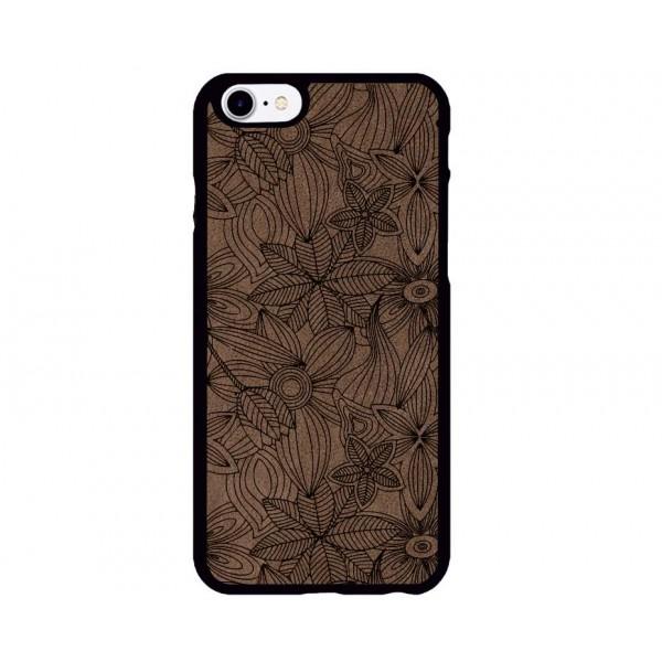 Çiçek Desenli iPhone Süet Telefon Kılıfı