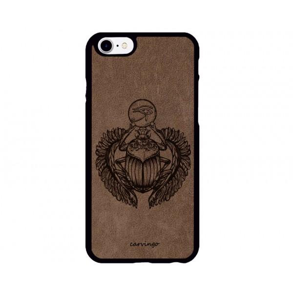 Kutsal Böcek Figürlü iPhone Süet Telefon Kılıfı
