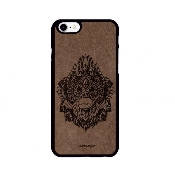 Maymun Kral Figürlü iPhone için Süet Telefon Kılıfı