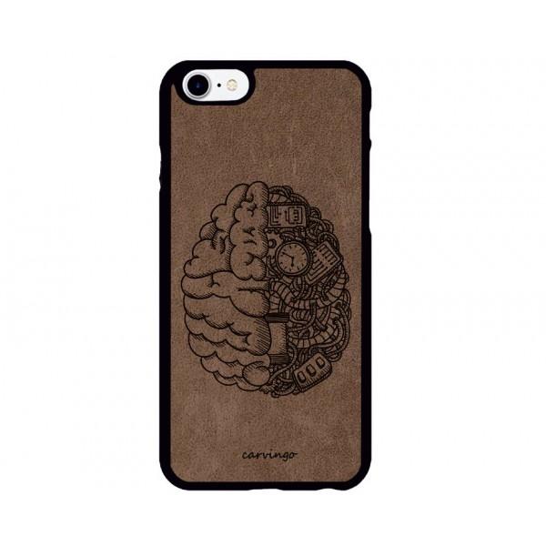 Mekanik Beyin Desenli iPhone Süet Telefon Kılıfı