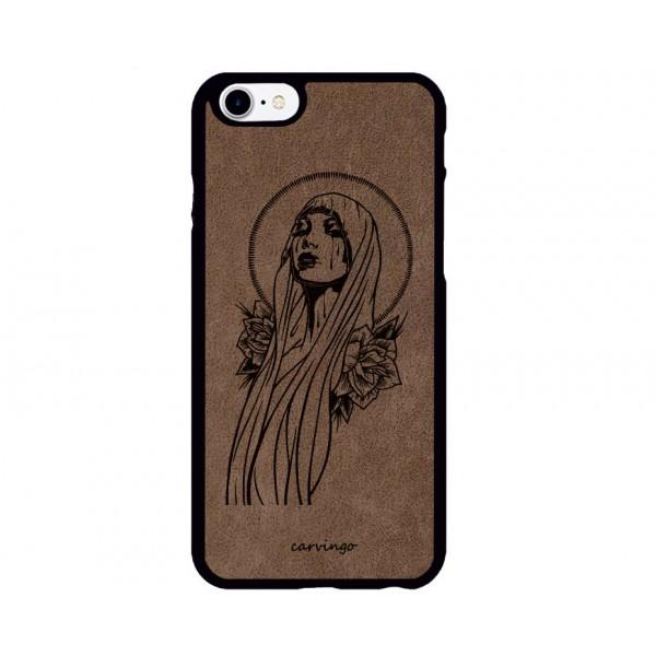 Meryem Ana Desenli iPhone Süet Telefon Kılıfı