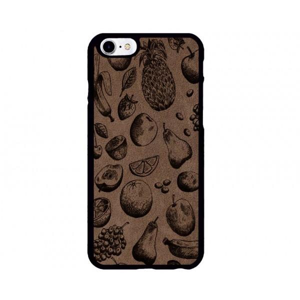 Meyve Desenli iPhone Süet Telefon Kılıfı