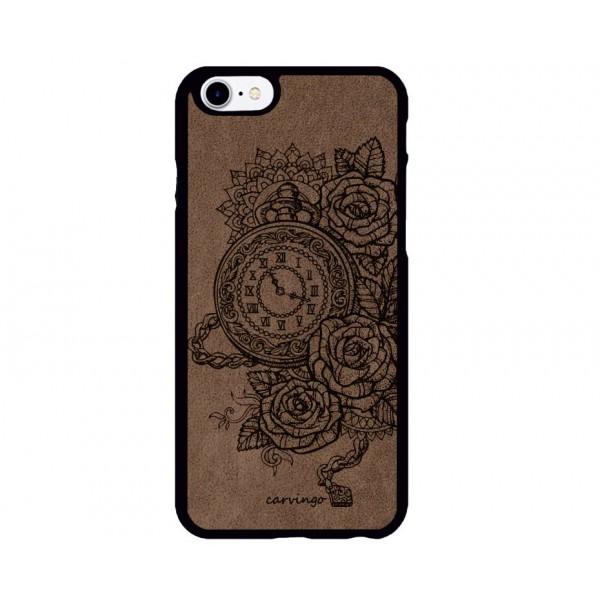 Saat Desenli iPhone Süet Telefon Kılıfı