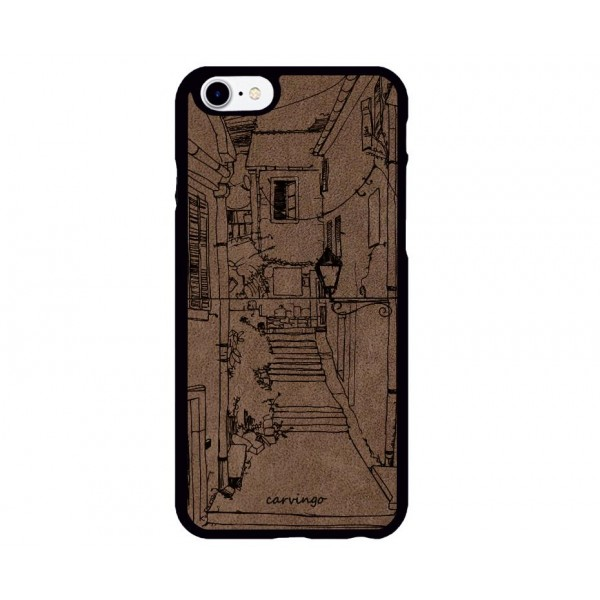 Sokak Desenli iPhone Süet Telefon Kılıfı