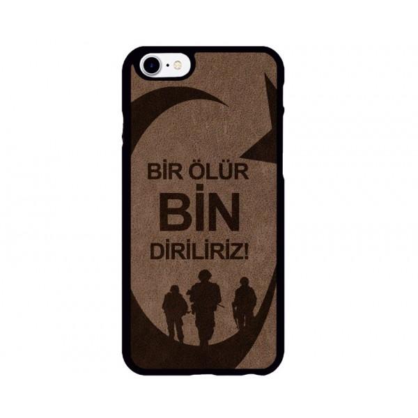 Bir Ölür Bin Diriliriz Figürlü iPhone Süet Telefon Kılıfı
