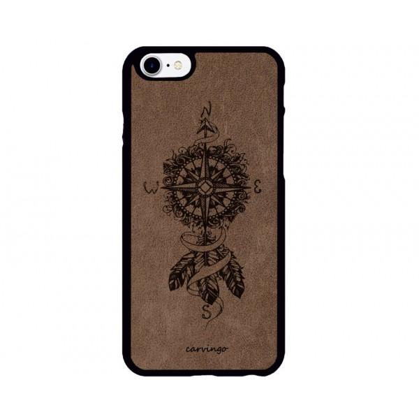 Tüylü Pusula Desenli iPhone Süet Telefon Kılıfı