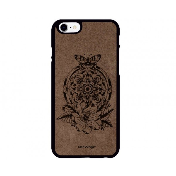 Mandala Kelebek Desenli iPhone Süet Telefon Kılıfı