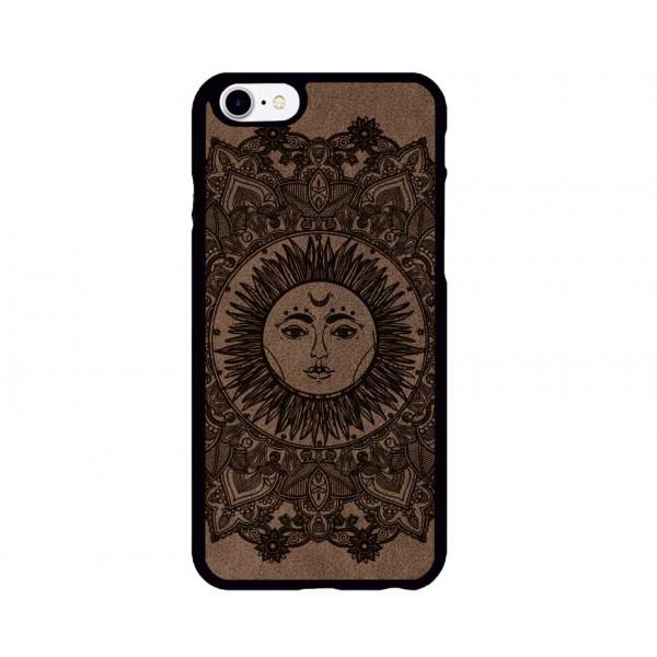 Etnik Güneş Desenli iPhone Süet Telefon Kılıfı