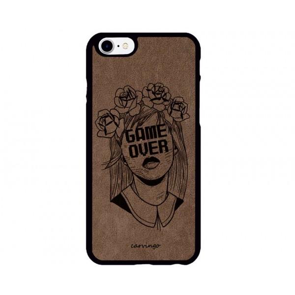 Game Over Desenli iPhone Süet Telefon Kılıfı