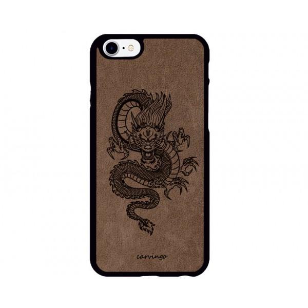 Mitolojik Ejderha Figürlü iPhone için Süet Telefon Kılıfı