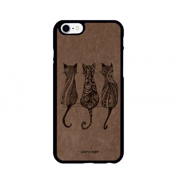 Kediler Figürlü iPhone Süet Telefon Kılıfı