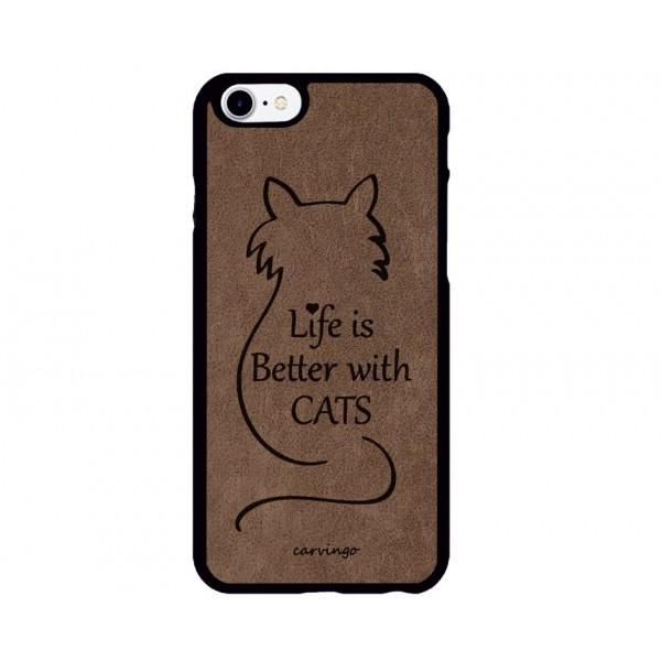 With Cats Figürlü iPhone Süet Telefon Kılıfı