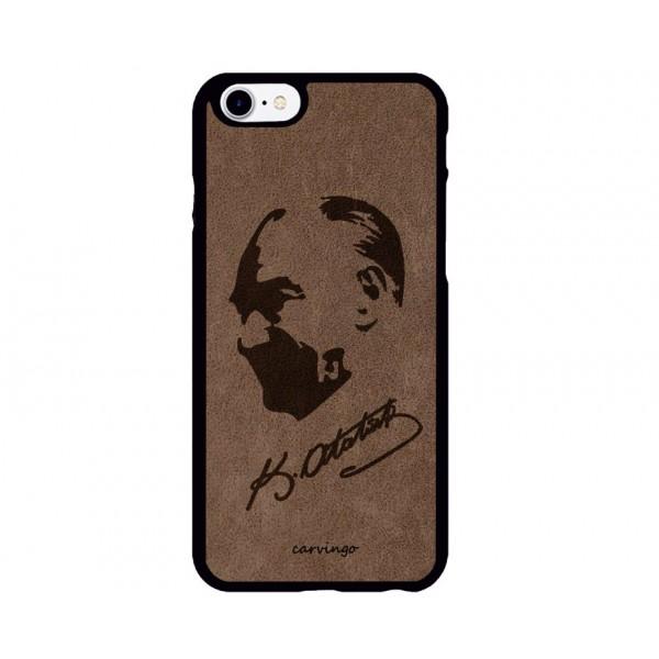 Atatürk Portre 7 iPhone Süet Telefon Kılıfı