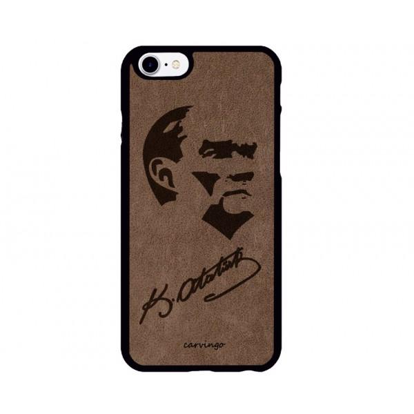 Atatürk Portre 8 iPhone Süet Telefon Kılıfı