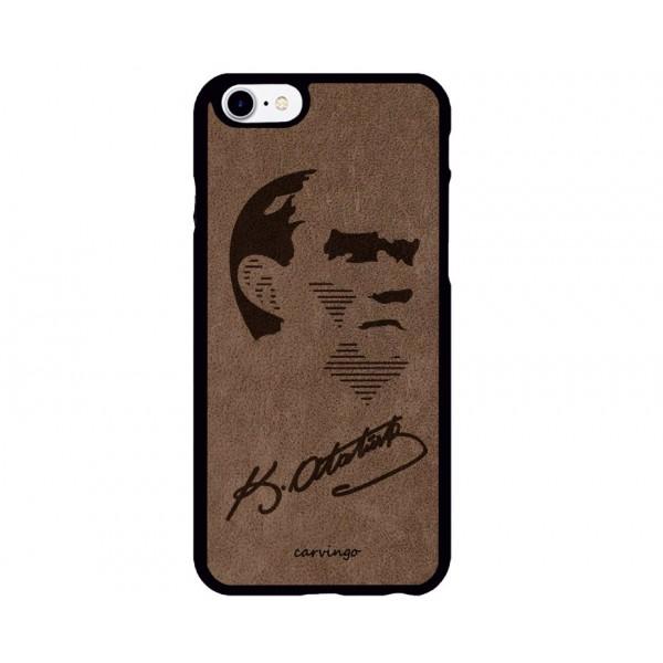 Atatürk Portre 9 iPhone Süet Telefon Kılıfı