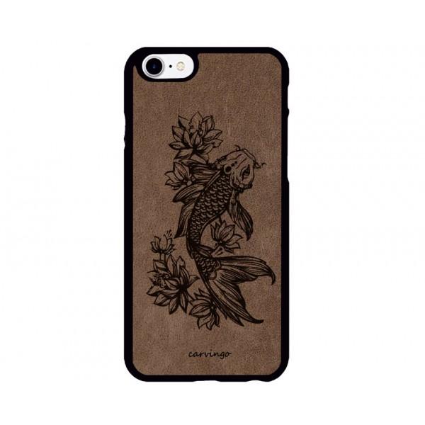 Japon Balığı Figürlü iPhone Süet Telefon Kılıfı