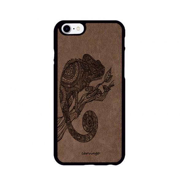 Bukalemun Figürlü iPhone Süet Telefon Kılıfı