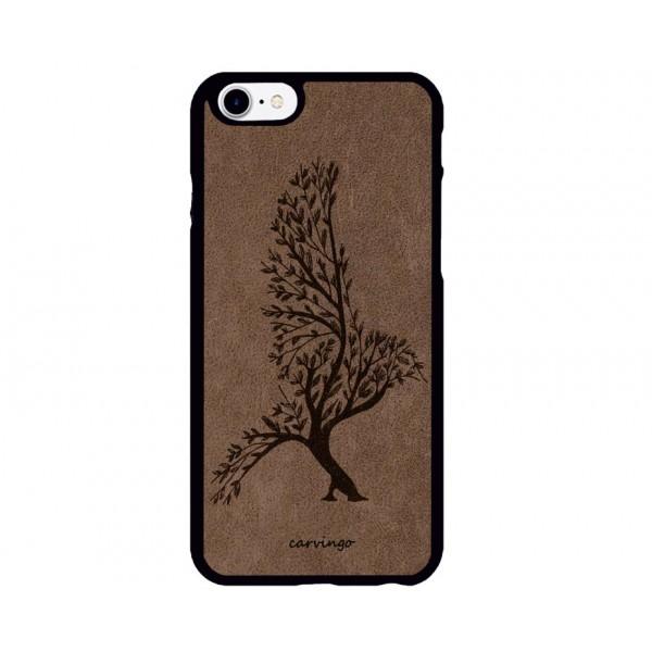 Kuş Ağacı Figürlü iPhone için Süet Telefon Kılıfı