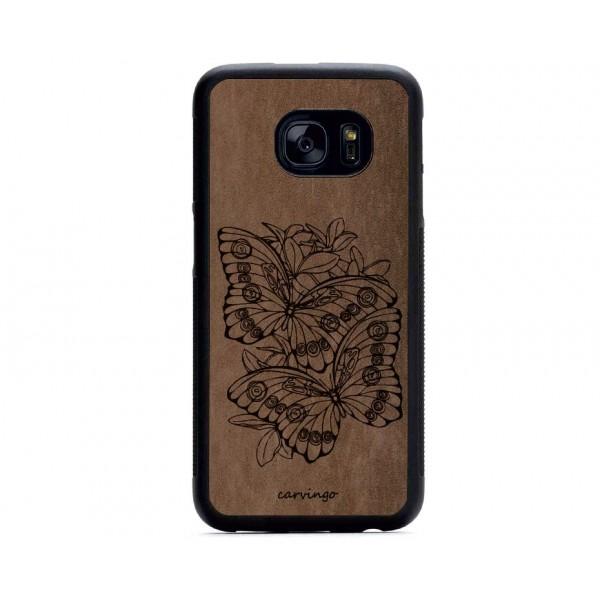 Kelebek Bahçesi Desenli Samsung Süet Telefon Kılıfı