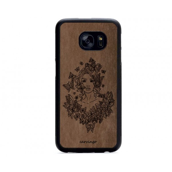 Kelebek Kadın Figürlü Samsung Süet Telefon Kılıfı