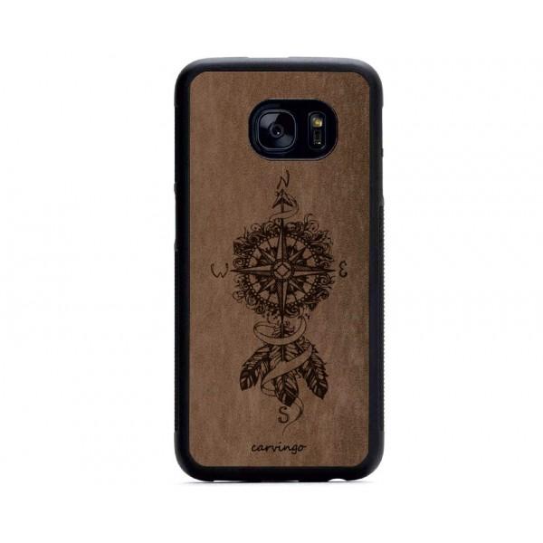 Tüylü Pusula Desenli Samsung Süet Telefon Kılıfı
