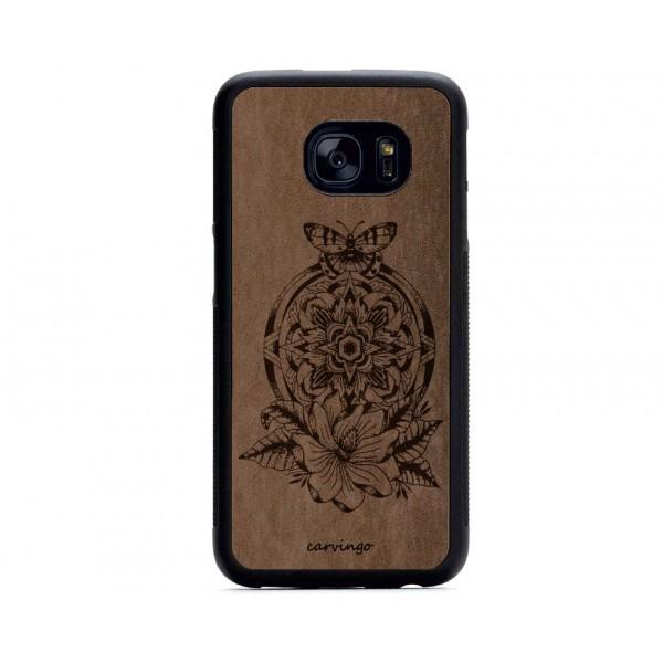 Mandala Kelebek Desenli Samsung Süet Telefon Kılıfı