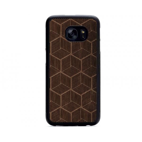 Geometrik Küp Desenli Samsung Süet Telefon Kılıfı