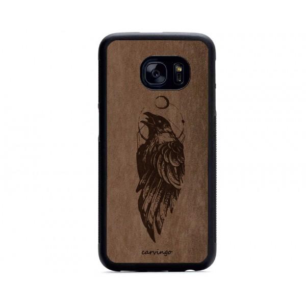 Kuzgun Figürlü Samsung için Süet Telefon Kılıfı